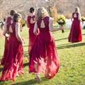 Burgundy Sleeveless V-Neck Chiffon Bridesmaid Dress With Keyhole Back