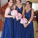 Elegant Royal Blue Sleeveless V-Neck Sequin Bodice Bridesmaid Dress