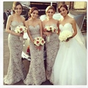 Strapless Sweetheart Neckline Lace Mermaid Bridesmaid Dress With Belt