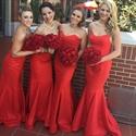 Simple Red Strapless Sweetheart Floor Length Mermaid Bridesmaid Dress