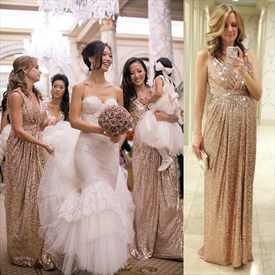 Floor Length Champagne Sleeveless V-Neck Ruched Sequin Bridesmaid Gown