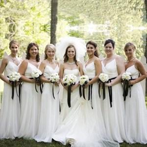 Elegant White Spaghetti Strap Floor Length Chiffon Bridesmaid Dress