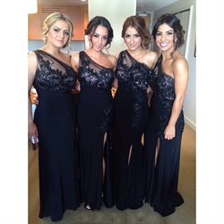 Black One Shoulder Applique Bodice Bridesmaid Dress With Side Split