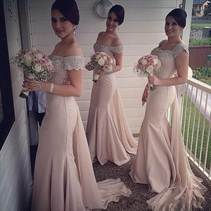 Off The Shoulder Beaded Embellished Top Chiffon Long Bridesmaid Dress