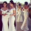 White Off Shoulder Lace Embellished Chiffon Mermaid Bridesmaid Dress