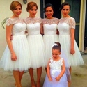 Cute White Knee Length A-Line Tulle Bridesmaid Dress With Illusion Top