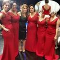 Red Sleeveless V Neck Lace Bodice Mermaid Open Back Bridesmaid Dress