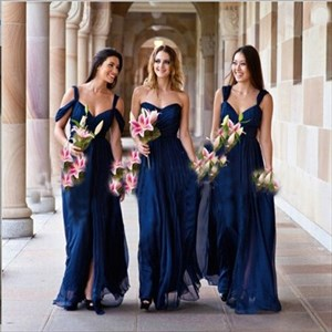 Navy Blue A-Line Ruched Bodice Floor-Length Chiffon Bridesmaid Dress