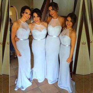 Light Blue Sheer Halter Floor Length Chiffon Mermaid Bridesmaid Dress