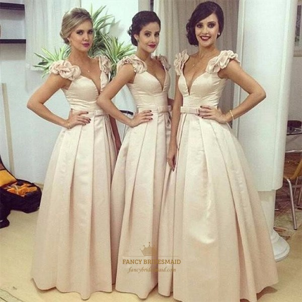 A-Line Deep V-Neck Floor Length Ball Gown With Embellished Cap Sleeve