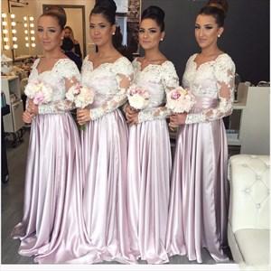 Illusion Long Sleeve Lace Bodice A-Line Floor Length Bridesmaid Dress