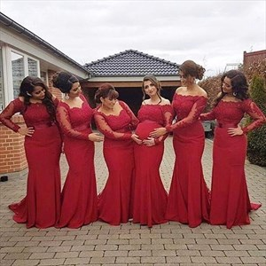 Red Off The Shoulder Long Sleeve Lace Bodice Chiffon Bridesmaid Dress