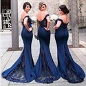 Navy Blue Off The Shoulder Lace Embellished Mermaid Bridesmaid Dress