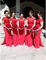 Red Short Sleeve Lace Top Mermaid Long Bridesmaid Dress With Open Back