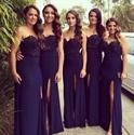 Navy Blue Strapless Floor Length Chiffon Bridesmaid Dress With Slit