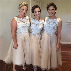 Champagne Sleeveless Lace Bodice Tulle Tea Length Bridesmaid Dress
