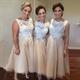 Champagne Sleeveless Lace Bodice Tulle Tea Length Bridesmaid Dress