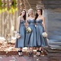 Simple Grey Strapless Sweetheart Backless Tea Length Bridesmaid Dress