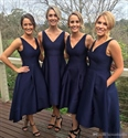 Elegant Simple Navy Blue Sleeveless V-Neck Tea Length Bridesmaid Dress