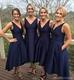 Elegant Simple Navy Blue Sleeveless V-Neck Tea Length Bridesmaid Dress