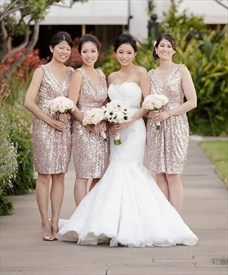 Cute Champagne Knee Length Sleeveless V Neck Sheath Bridesmaid Dress