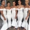 Elegant White Off The Shoulder Dropped Waist Mermaid Bridesmaid Dress