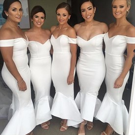 Elegant White Off The Shoulder Dropped Waist Mermaid Bridesmaid Dress