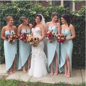 Light Blue Strapless High Low Floor Length Chiffon Bridesmaid Dress