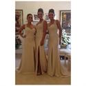 Sleeveless Lace Bodice Floor Length Mermaid Bridesmaid Dress With Slit