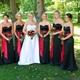 Simple Black Strapless Sweetheart Mermaid Bridesmaid Dress With Belt