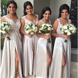 Ivory Sleeveless Floor Length Lace Bodice Bridesmaid Dress With Slit