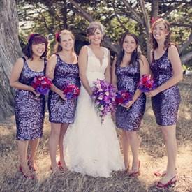 Cute Scoop Neckline Knee Length Purple Sequin Sheath Bridesmaid Dress