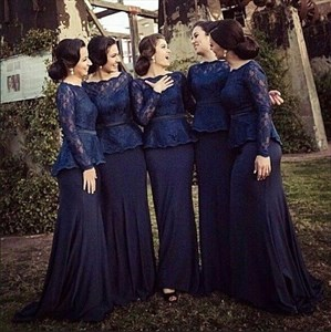 Navy Blue Long Sleeve Lace Bodice Floor-Length Peplum Bridesmaid Dress