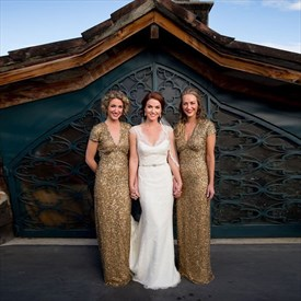 Champagne Short Sleeve Floor-Length Sequin Mermaid Bridesmaid Dress