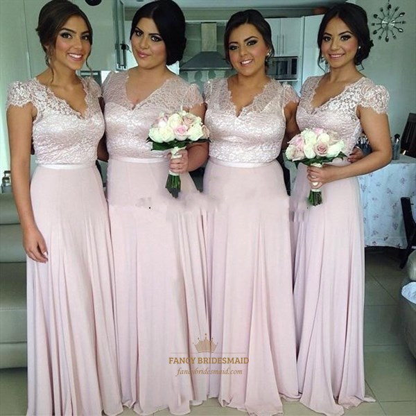 Pink Cap Sleeve V-Neck Lace Bodice A-Line Chiffon Bridesmaid Dress