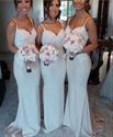 Elegant Ivory Spaghetti Strap Lace Bodice Mermaid Bridesmaid Dress