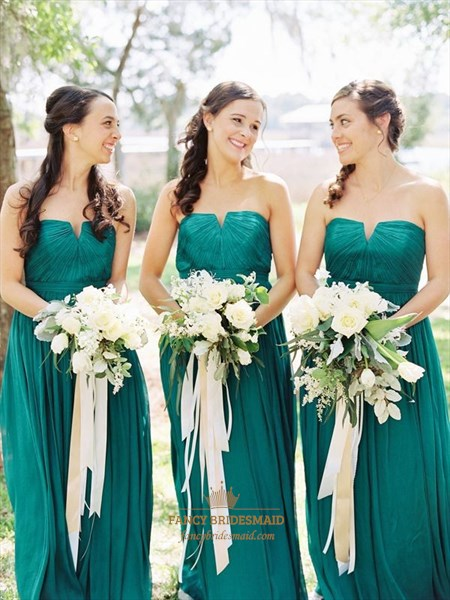 Simple Emerald Green Strapless A-Line Ruched Chiffon Bridesmaid Dress