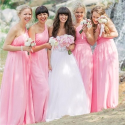 Lovely Pink One Shoulder Floor Length A-Line Chiffon Bridesmaid Dress