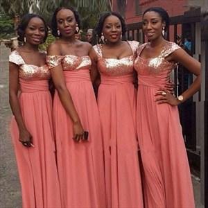 Floor Length Sequin Bodice Empire Waist Chiffon Long Bridesmaid Dress
