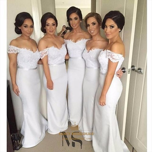 White Off The Shoulder Lace Bodice Satin Mermaid Long Bridesmaid Dress