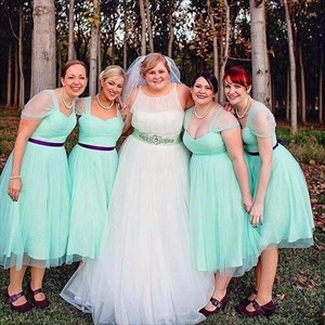 Cute Mint Green Tea Length Tulle Overlay Bridesmaid Dress With Strap