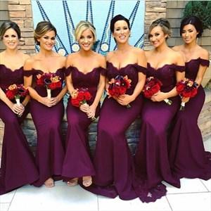 Grape Off The Shoulder Lace Embellished Mermaid Long Bridesmaid Dress