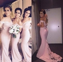 Pink Off The Shoulder Mermaid Long Bridesmaid Dress With Lace Detail