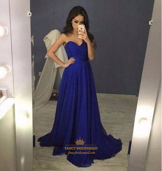 Royal Blue Strapless Sweetheart A-Line Floor Length Chiffon Prom Dress