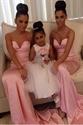 Simple Pink Strapless Sweetheart Floor Length Mermaid Bridesmaid Dress