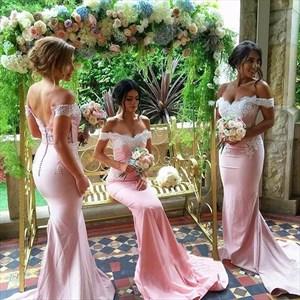 Pink Off The Shoulder Lace Bodice Satin Mermaid Long Bridesmaid Dress