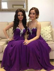 Violet Strapless Beaded Neckline A-Line Chiffon Long Bridesmaid Dress