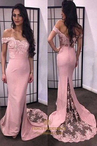 Pink Off The Shoulder Lace Embellished Chiffon Long Bridesmaid Dress