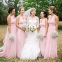 Pink Sleeveless Front Keyhole Floor Length Chiffon Bridesmaid Dress