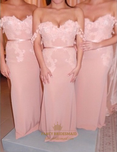 Elegant Off The Shoulder Lace Embellished Mermaid Bridesmaid Dress